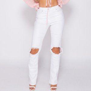 White High Waist Ripped Straight Leg Jeans Denim